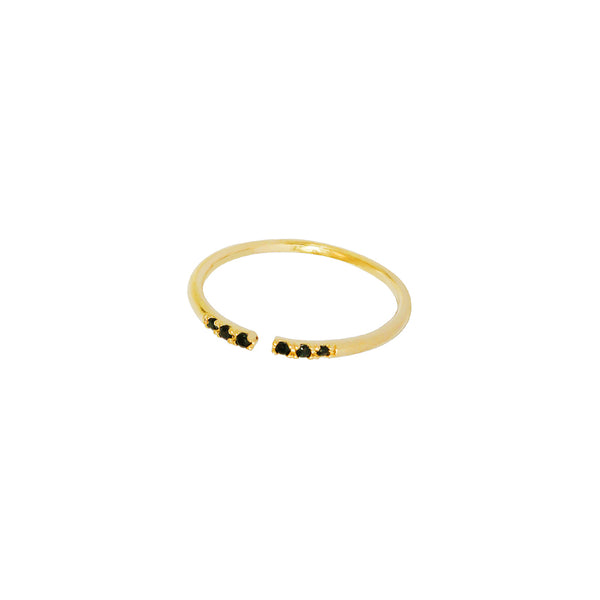 MALOU BLACK STERLING SILVER GOLD PLATED RING