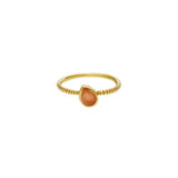 Laletta tear drop semi precious gold ring