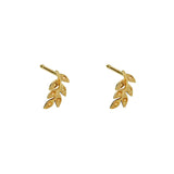 LEAF 2 MICRON GOLD STUD EARRINGS