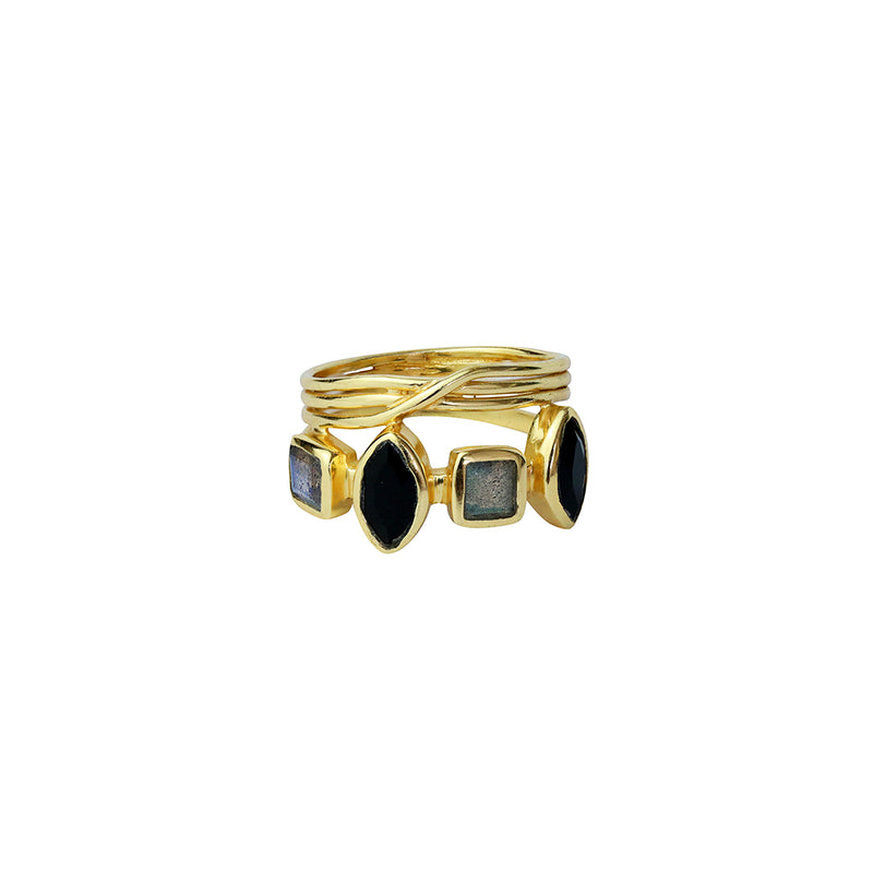 orion labradorite and onyx gold ring