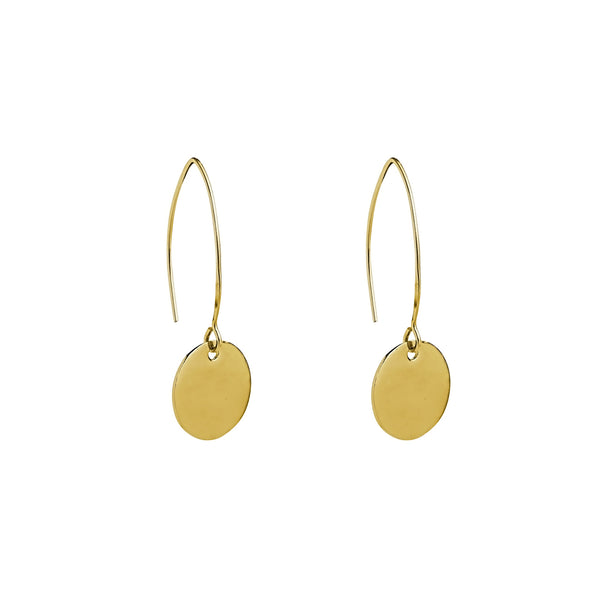 disc gold filled drop earrings