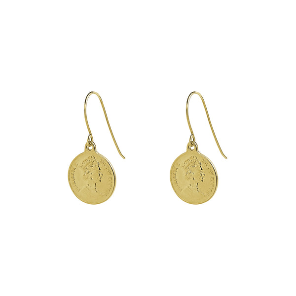 coin gold filled drop earrings