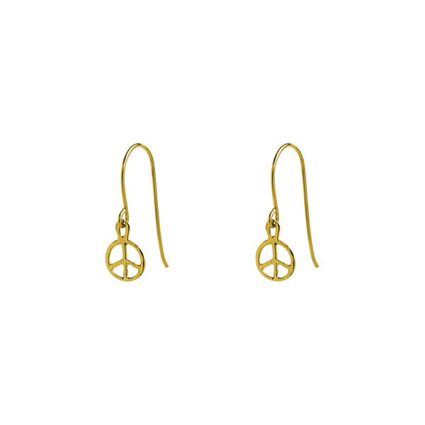 peace drop gold filled drop earrings