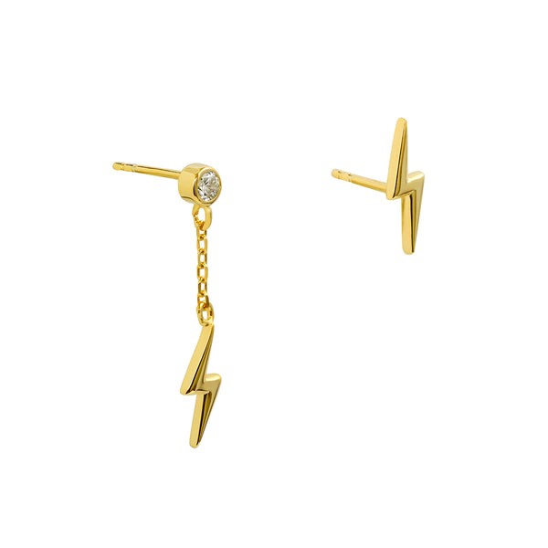 LIGHTNING BOLT 1 MICRON GOLD EARRINGS