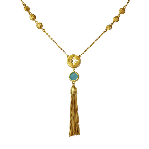 yasmene chalcedony gold tassel necklace