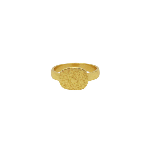 Britta hammered disc 2 micron gold ring