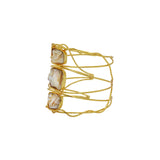 Souhi mother of pearl gold cuff bracelet