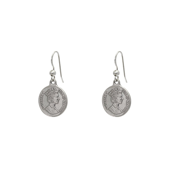 coin sterling silver drop earrings
