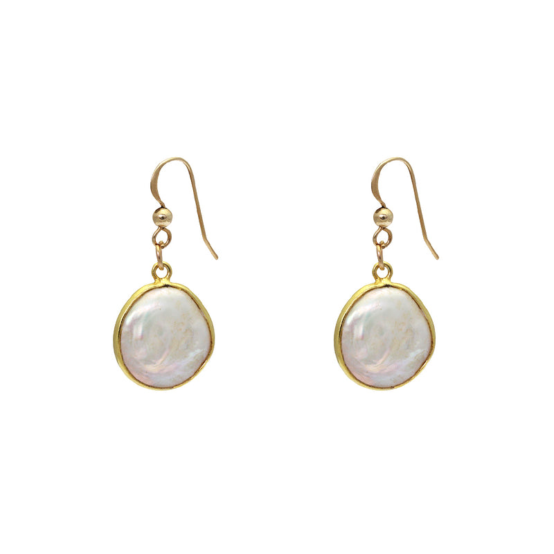 ARDEN MOTHER OF PEARL GOLD EARRINGS
