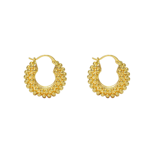 MEHRI GOLD THICK BUBBLE HOOP EARRINGS