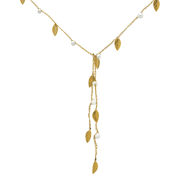 Daun Freshwater Pearl Silk Gold Filled Leaf Necklace