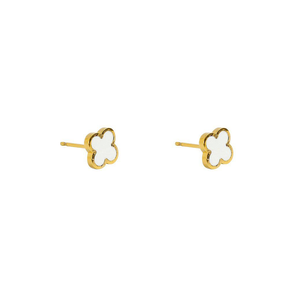 CLOVER WHITE & GOLD STUD EARRINGS