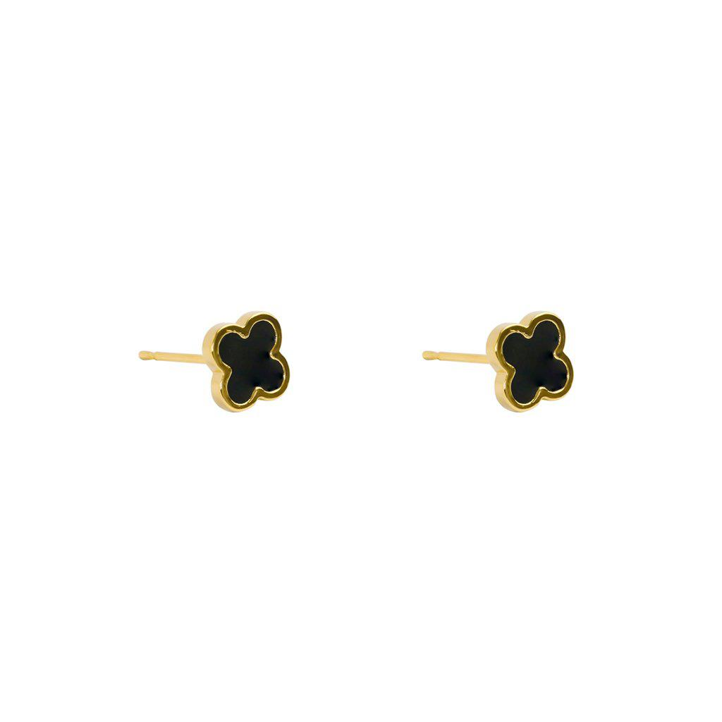 CLOVER BLACK & GOLD STUD EARRINGS