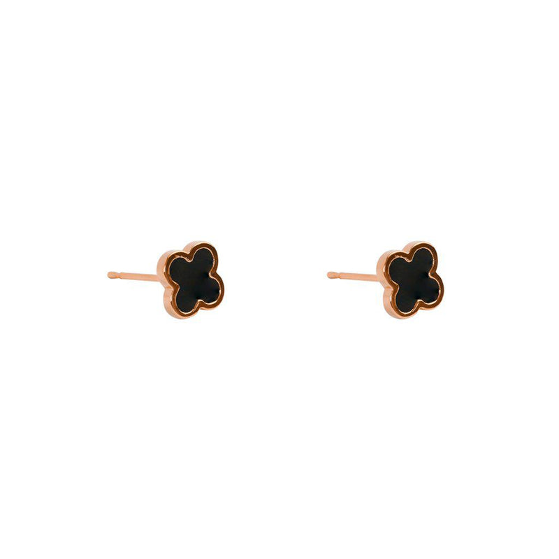 CLOVER BLACK & ROSE GOLD STUD EARRINGS