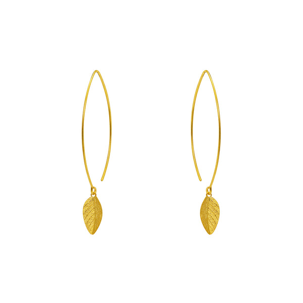 LEAF GOLD FILLED LONG HOOK EARRINGS