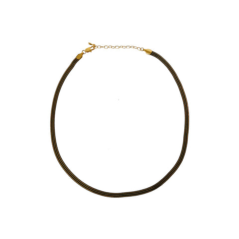 VENY BLACK HERRINGBONE CHAIN NECKLACE