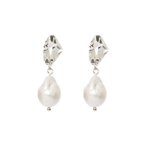 VONDA FRESHWATER PEARL AND CLEAR CRYSTAL EARRINGS