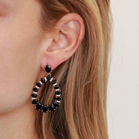 VAHI BLACK CRYSTAL EARRINGS