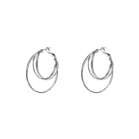 WILDER SILVER INTERLOCK HOOP EARRINGS