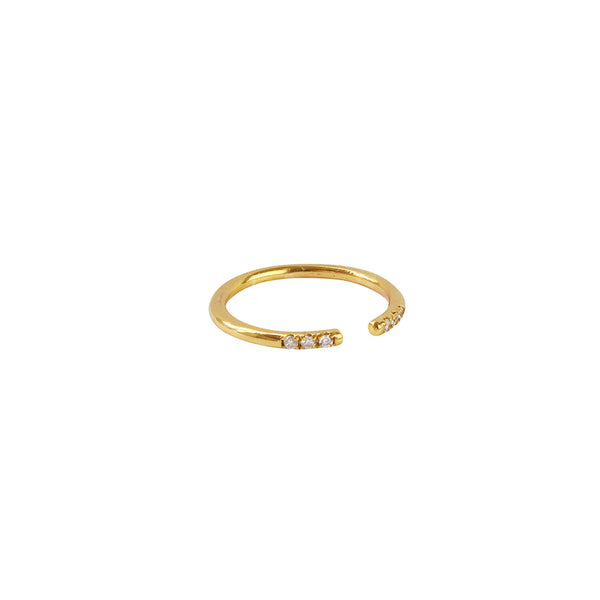 WILLA CRYSTAL 2 MICRON GOLD PLATED OPEN RING