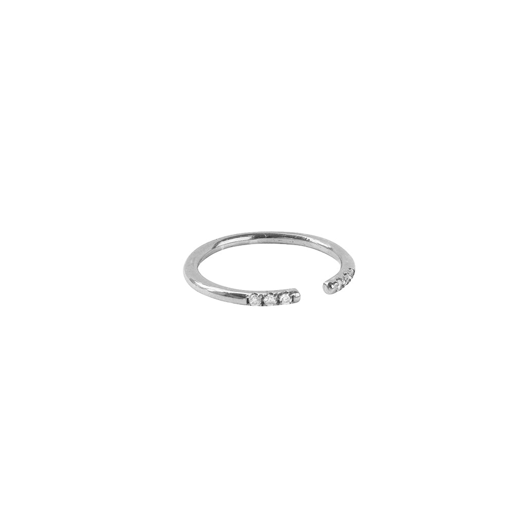 WILLA CRYSTAL STERLING SILVER OPEN RING