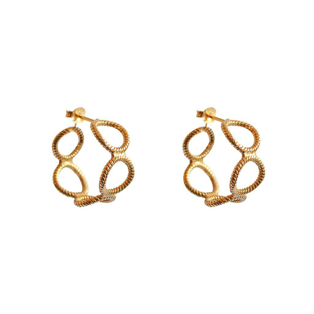 XIA HOLLOW GOLD HOOP EARRING