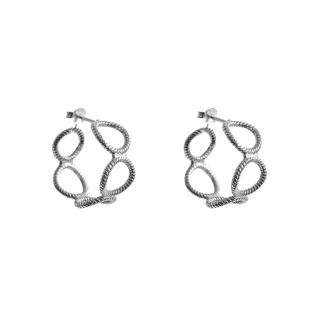 XIA HOLLOW SILVER HOOP EARRING