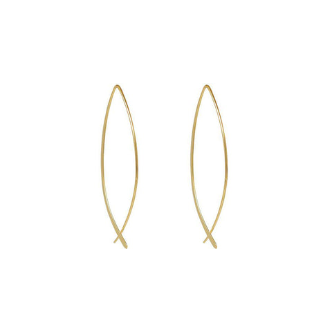 YARDAN 2 MICRON GOLD CROSS OVER EARRINGS