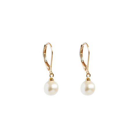 ZALKA 2 MICRON GOLD PEARL EARRINGS