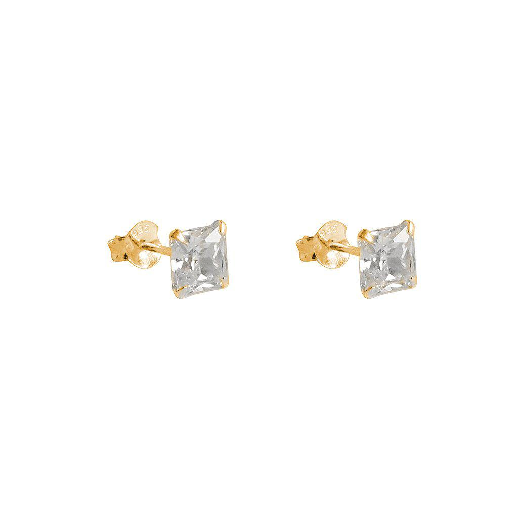 CUBIC ZIRCONIA GOLD BASE LARGE SQUARE STUDS