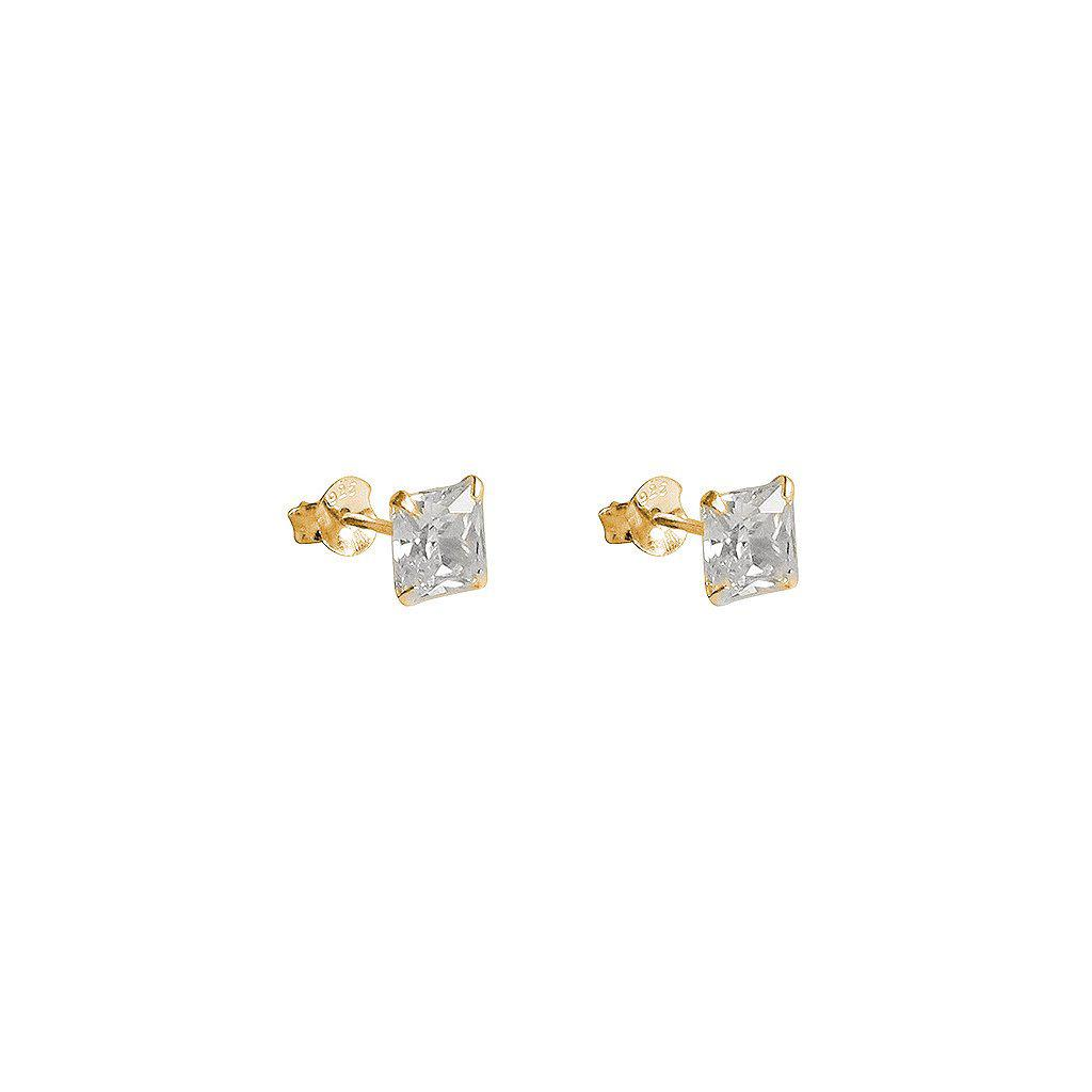CUBIC ZIRCONIA GOLD BASE SMALL SQUARE STUDS