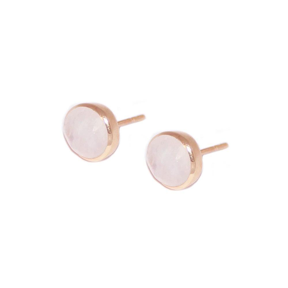 ADRIAN MOONSTONE ROSE GOLD STUD EARRINGS