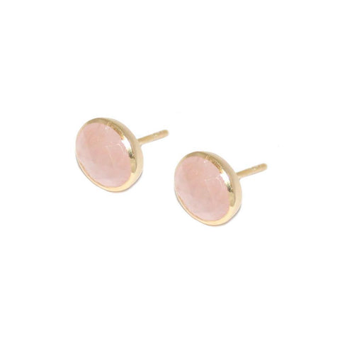ADRIAN ROSE QUARTZ GOLD STUD EARRINGS
