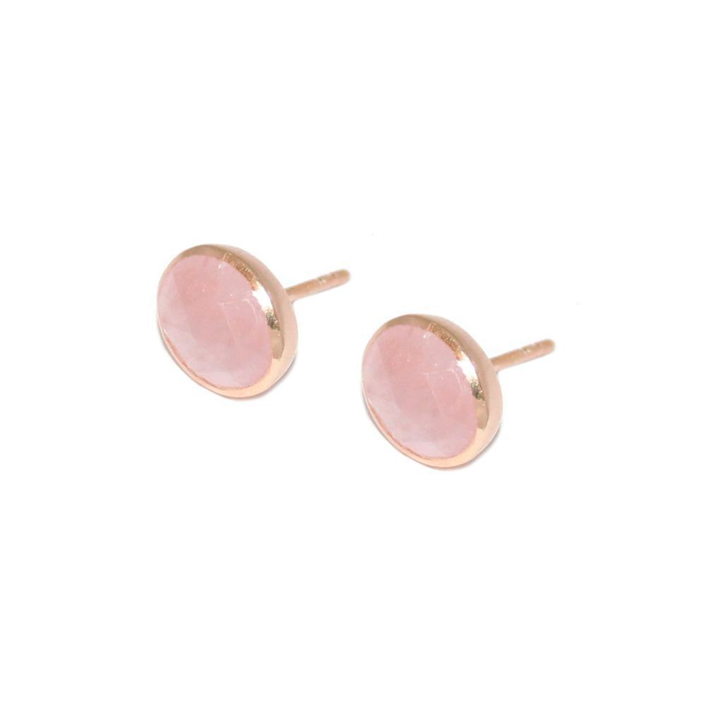 ADRIAN ROSE QUARTZ ROSE GOLD STUD EARRINGS