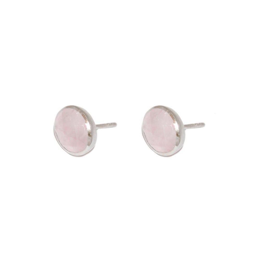 ADRIAN ROSE QUARTZ SILVER STUD EARRINGS