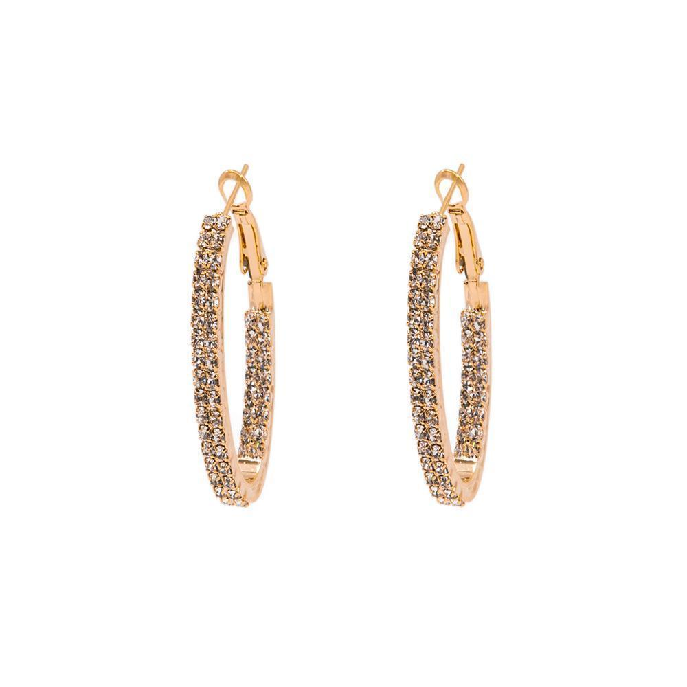 ADRIEL ROSE GOLD CRYSTAL HOOP EARRINGS