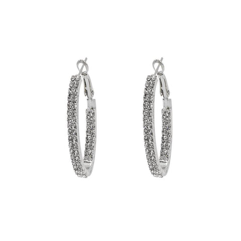 ADRIEL SILVER CRYSTAL HOOP EARRINGS