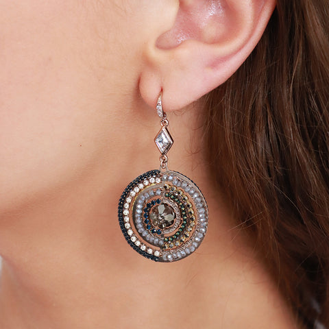 ADWETA ROUND CRYSTAL DROP EARRINGS