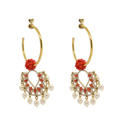 AFTON PEARLS AND CORAIL HOOP GOLD EARRINGS