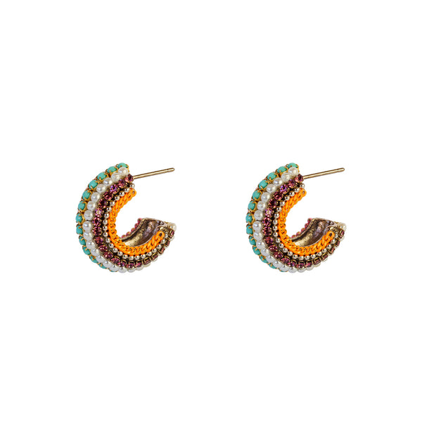 AILA MULTI-COLOURED BLUE CRYSTAL HALF HOOP EARRINGS