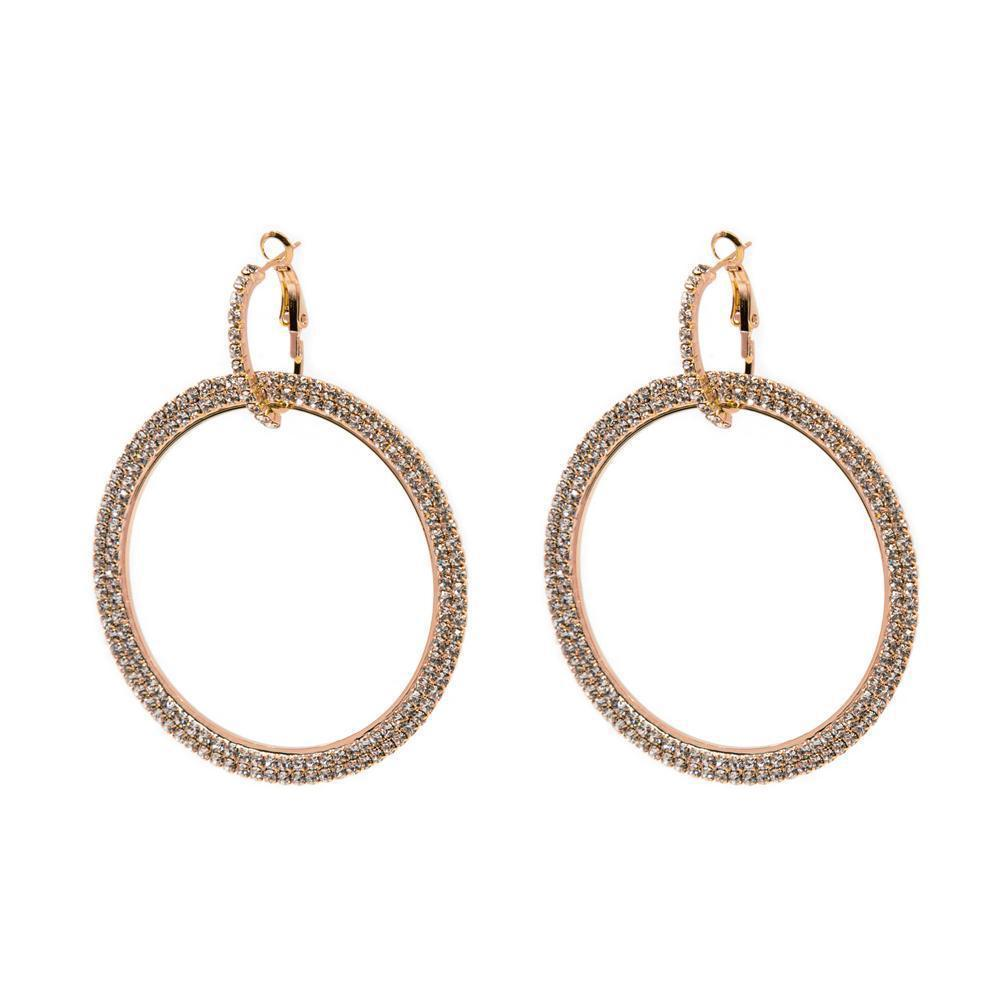 AKELA ROSE GOLD CRYSTAL ROUND EARRINGS