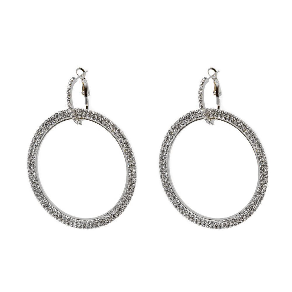AKELA SILVER CRYSTAL ROUND EARRINGS