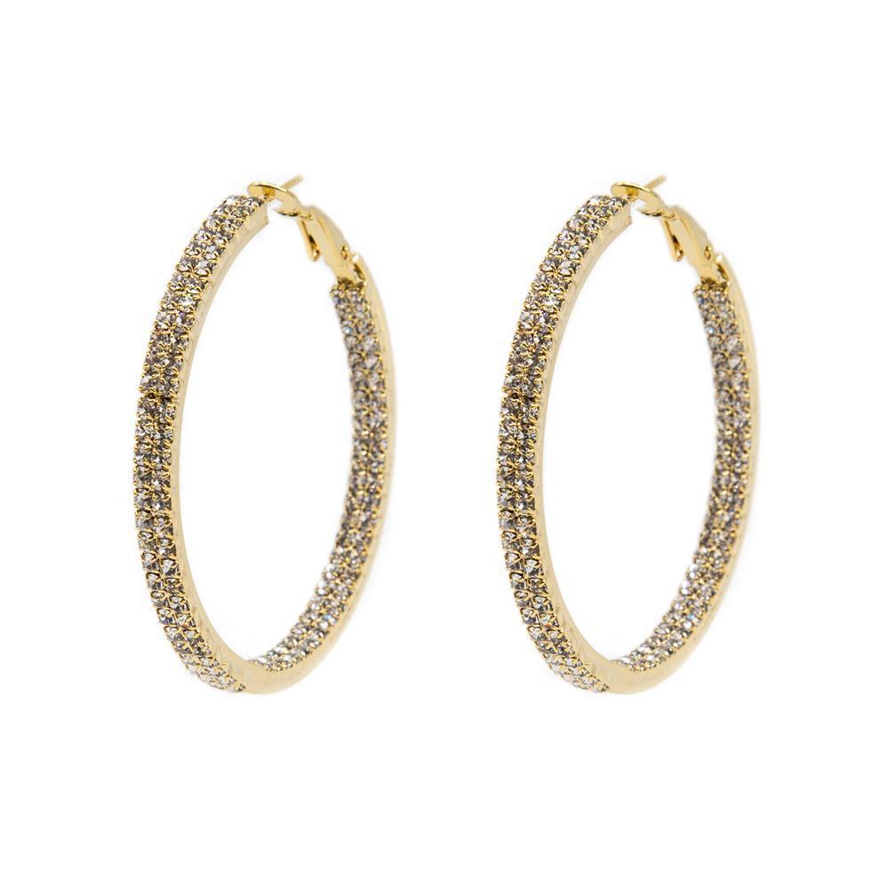 ALDIS GOLD CRYSTAL DOUBLE HOOP EARRINGS