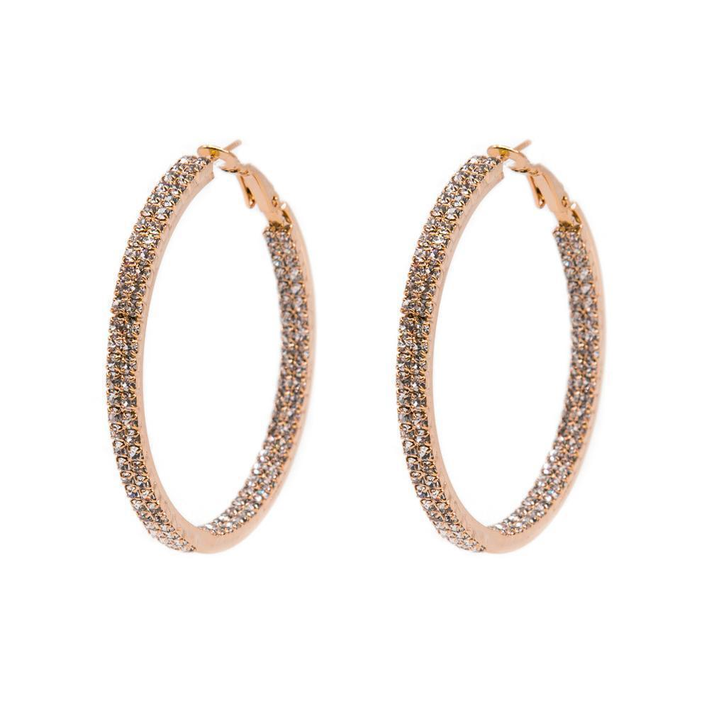 ALDIS ROSE GOLD CRYSTAL DOUBLE HOOP EARRINGS