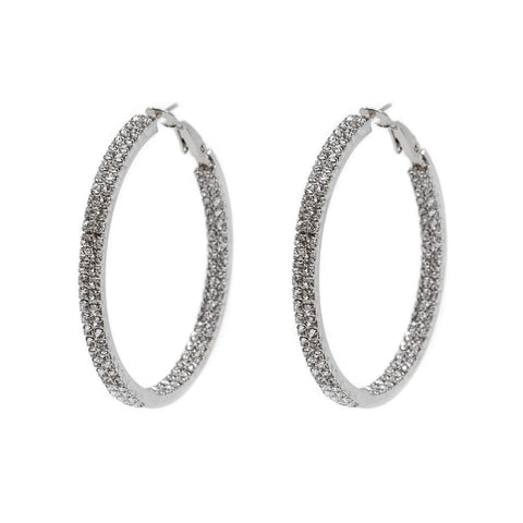 ALDIS SILVER CRYSTAL DOUBLE HOOP EARRINGS