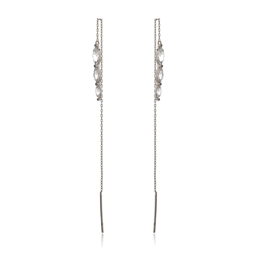 ALICE SILVER THREAD EARRINGS-Earrings-MEZI