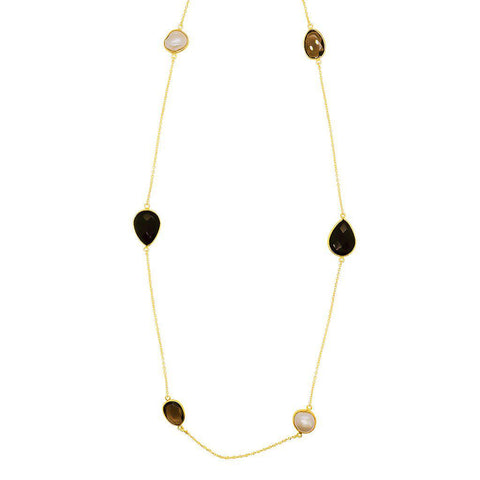 ALISHA ONYX AND SMOKEY QUARTZ SEMI-PRECIOUS STONE NECKLACE
