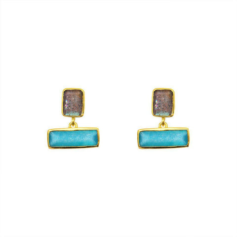 AMAL SEMI-PRECIOUS BAR EARRINGS
