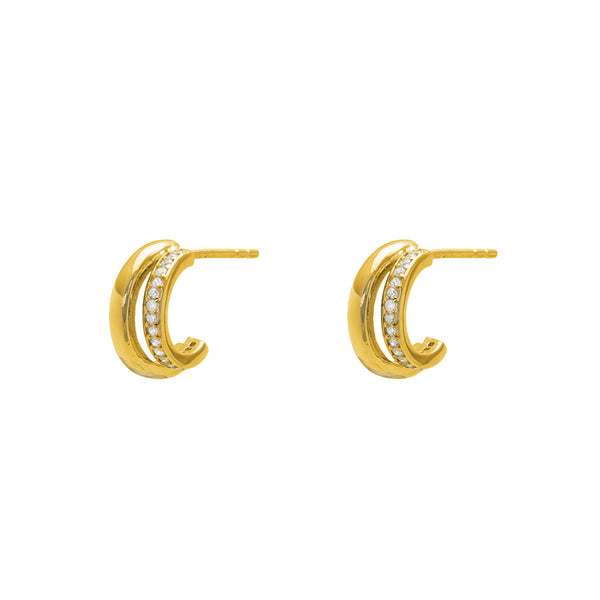 Amari double crystal hoop earrings
