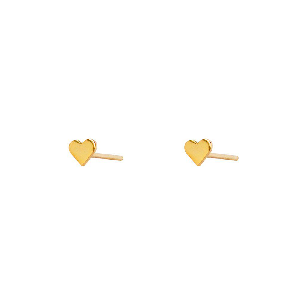 AME HEART 2MICRON GOLD PLATED STUDS